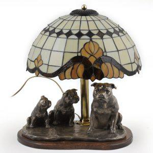 Lámpara estilo Tiffany con esculturas de perro